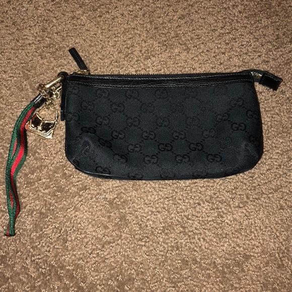 8e4c0af4620d91 Gucci Bags | Signature Black Gg Wristlet With Purse Charm | Poshmark